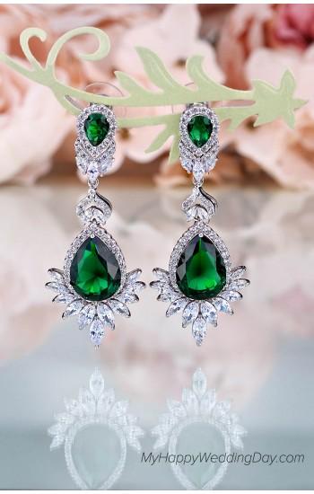 Афродита - зеленые серьги с цирконием