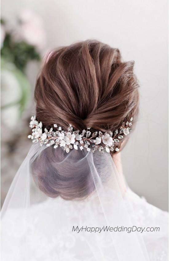 АБРИ веточка для волос с цветами и кристаллами