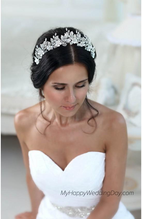 Амара свадебная тиара для невесты с кристаллами