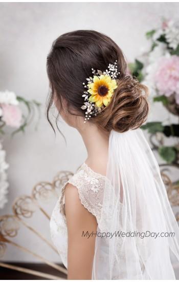 КАЛЛИ свадебная заколка в виде подсолнуха на подсолнуховую или осеннюю свадьбу